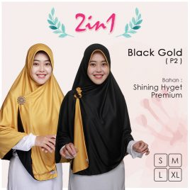 Jilbab Pricilla 2in1 Original Black Gold P2