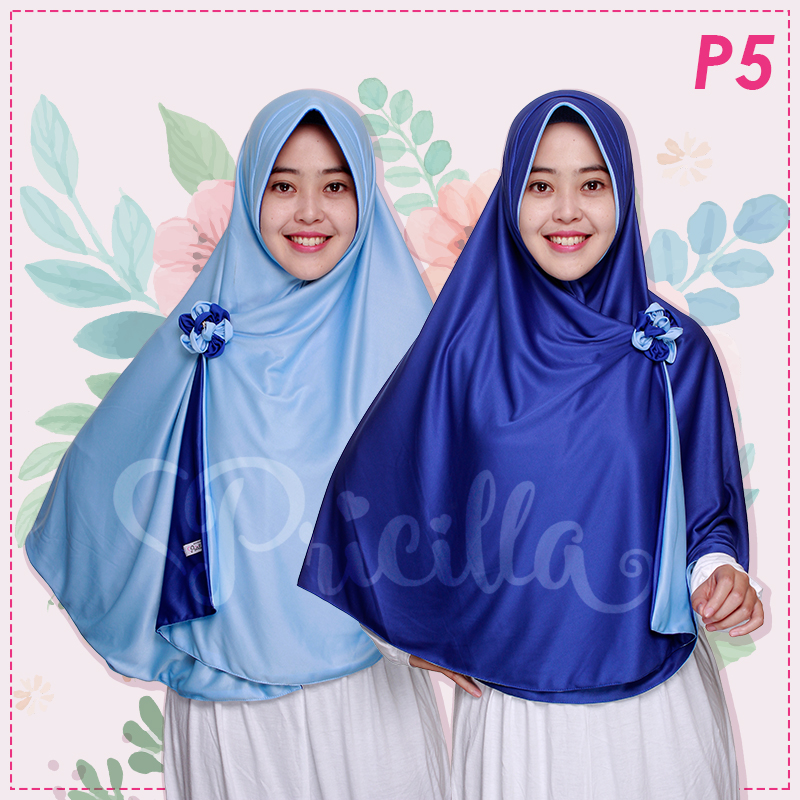 Jilbab Pricilla 2in1 Original Sky Blue P5