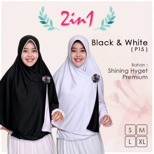 Jilbab Pricilla 2in1 Original Black White P15