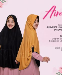 Jilbab Pricilla Aira 2in1 Black Gold A12