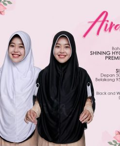 Jilbab Pricilla Aira 2in1 Black White A19