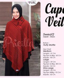 Pricilla Cape Veil Bolak-Balik Merah-Hitam Sweat2