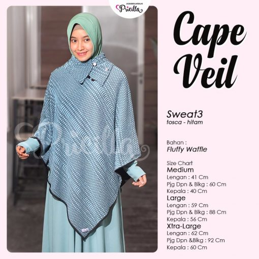 Pricilla Cape Veil Bolak-Balik Tosca-Hitam Sweat3