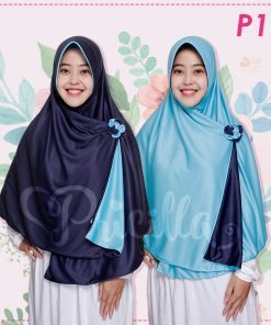 Jilbab Pricilla 2in1 Original Ocean Blue P11