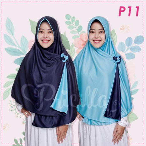 Jilbab Pricilla 2in1 Original Ocean Blue P11