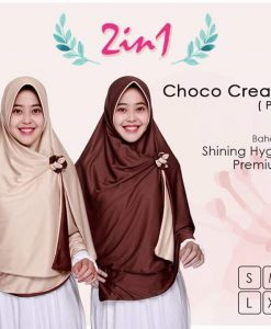Jilbab Pricilla 2in1 Original Choco Cream P4