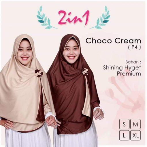 Jilbab Pricilla 2in1 Original Choco Cream P4
