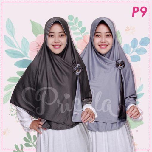 Jilbab Pricilla 2in1 Original Monochrome P9