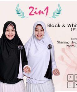 Jilbab Pricilla 2in1 Original Black White P15