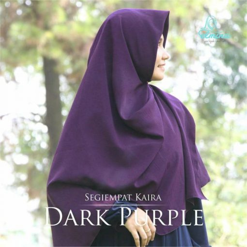 Jilbab Elmina Segiempat Kaira Polos Dark Purple-150cm