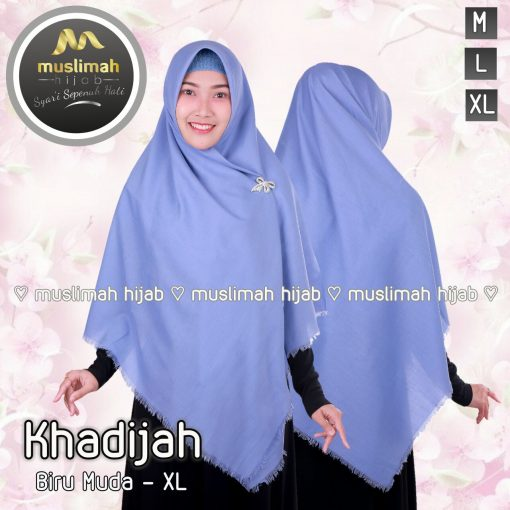 Jilbab Muslimah Hijab Khadijah Biru Muda