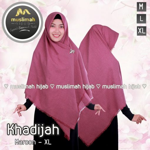 Jilbab Muslimah Hijab Khadijah Maroon
