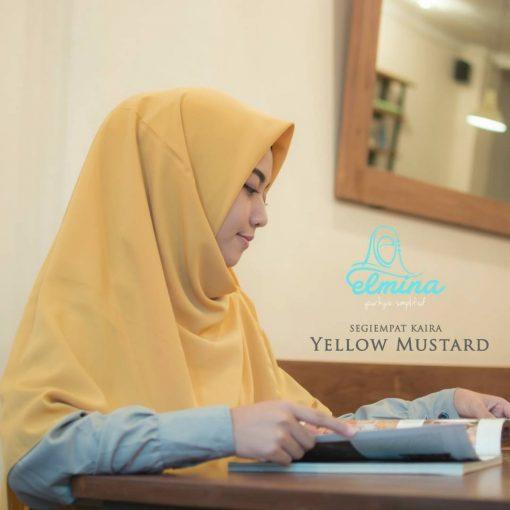 Jilbab Elmina Segiempat Kaira Polos Mustard -130cm