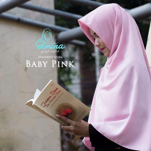 Jilbab Elmina Segiempat Kaira Polos Baby Pink-130cm