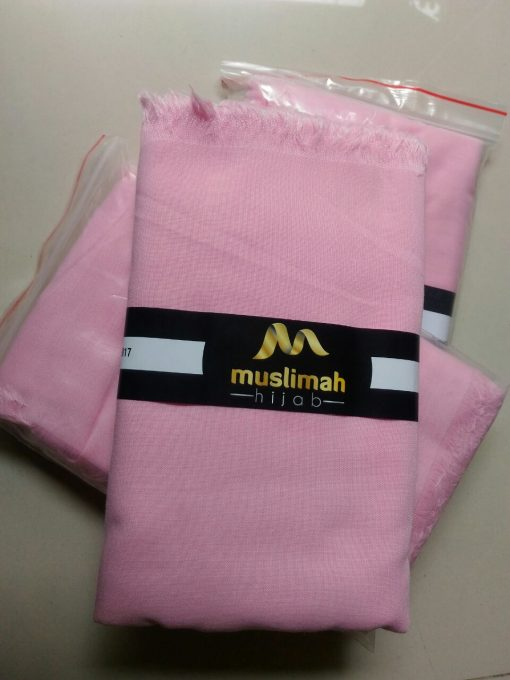 Jilbab Muslimah Khadijah Segiempat Rawis Baby Pink (L)