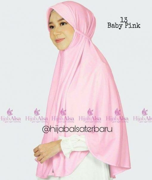 Jilbab Hijab Alsa Bergo Kalila - Baby Pink