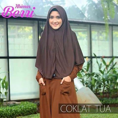 Jilbab Hijab Alsa Khimar Berri - Coklat Tua