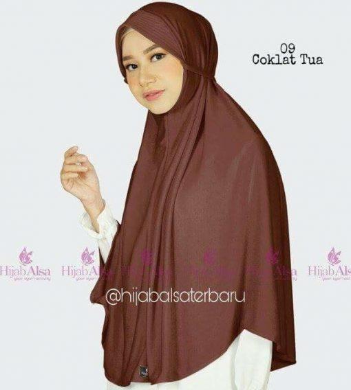 Jilbab Hijab Alsa Bergo Kalila - Coklat Tua