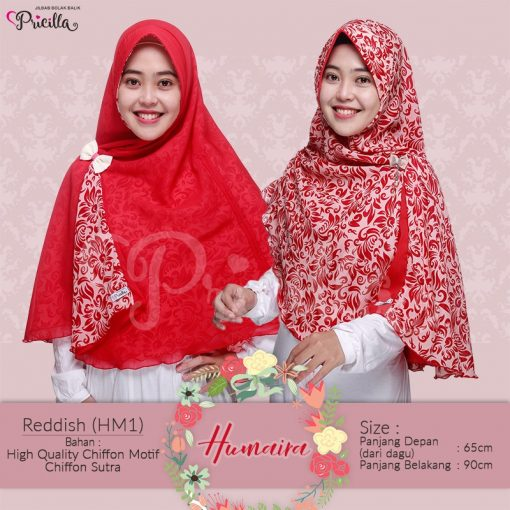 Jilbab Pricilla Bolak-Balik Humaira - Reddish