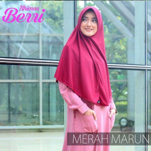 Jilbab Hijab Alsa Khimar Berri - Merah Maroon