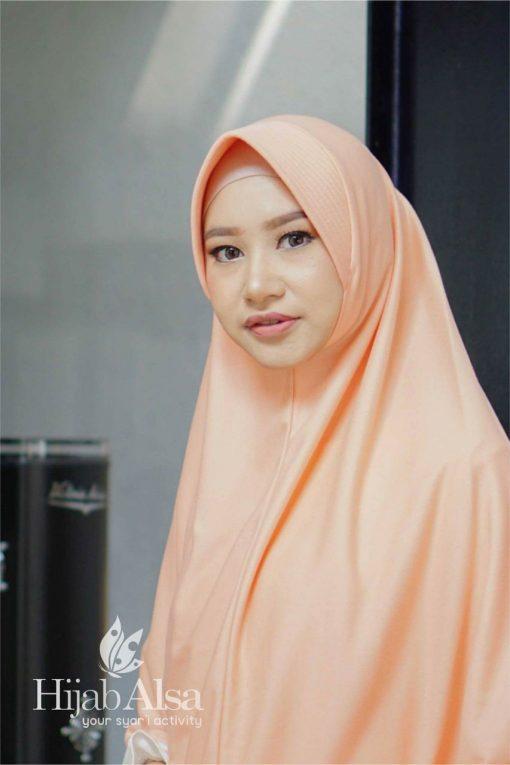 Jilbab Hijab Alsa Khimar Berri - Peach