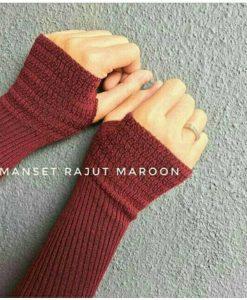 Handsock Jempol Rajut Naureen Maroon