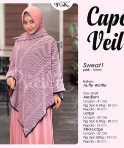 Pricilla Cape Veil Bolak-Balik Pink-Hitam