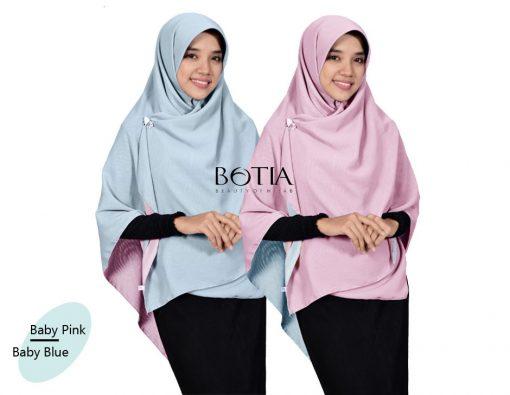 Jilbab Botia Segiempat Bolak-Balik Baby Pink-Baby Blue