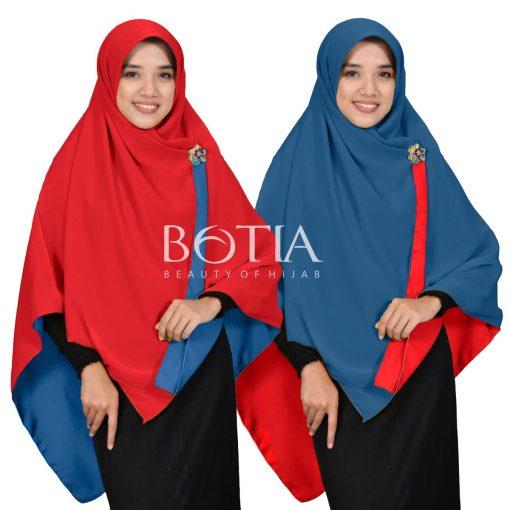 Jilbab Botia Segiempat Bolak-Balik Merah-Biru