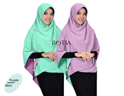Jilbab Botia Segiempat Bolak-Balik Purple-Mint