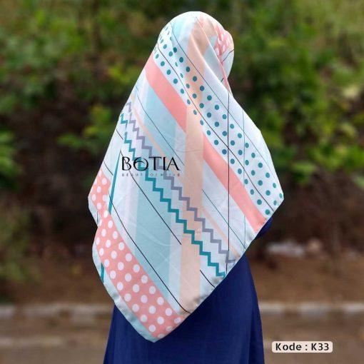 Jilbab Botia Segiempat Motif K33 Mint